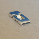 Fermoir en T poli pour cuir de 10x2mm